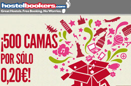 Super chollos de hostales por tan sólo 0,20€ y con 500 camas en 10 destinos seleccionados con motivo del 6º Aniversario de HostelBookers, válido hasta 30-Abril-2010