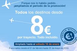 Más chollos en vuelos por 8 euros con Spanair para volar a todos sus destinos por tiempo muy limitado, válido hasta 16-Enero-2010