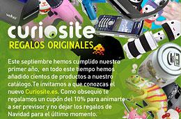 Codigo promocional Curiosite para tener un 10% de descuento en toda esta tienda de regalos originales, válido hasta 20-Noviembre-2009