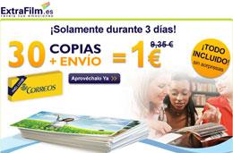 Codigo promocional ExtraFilm para tener 30 fotos impresas con envío incluído por tan sólo 1 euro, válido hasta 14-Abril-2010