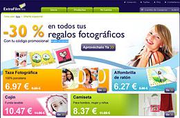 Codigo promocional ExtraFilm para tener un 30% de descuento en todos los regalos fotográficos (tazas, cojines, camisetas, ...), válido hasta 31-Diciembre-2010