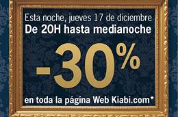 Codigo promocional Kiabi de un 30% de descuento sólo desde las 20h y hasta la medianoche de hoy jueves 17-Diciembre-2009