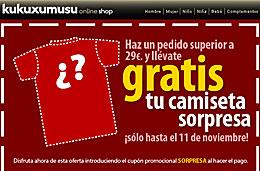 Codigo promocional Kukuxumusu para tener una camiseta gratis con cualquier pedido superior a 29€, válido hasta 11-Noviembre-2009