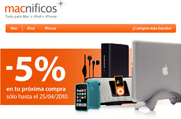 Codigo promocional Macnificos para tener un 5% de descuento adicional en vuestras compras de accesorios para Mac, iPod e iPhone, válido hasta 25-Abril-2010