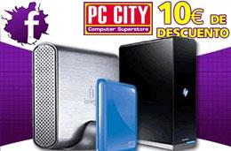 Codigo promocional PC City de un 10% de descuento en discos duros gracias a su página en Facebook, válido hasta 22-Noviembre-2009