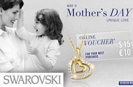 Codigo promocional Swarovski para el Dia de la Madre de 10€ de descuento para compras superiores a 125€, válido hasta 5-Mayo-2010