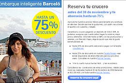 Ofertas de cruceros con descuentos de hasta el 75% en Barceló viajes para cruceros en 2010, válido para reservas hasta 30-Noviembre-2009