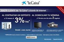 Consigue gratis una videocámara Samsung con zoom óptico 51x ó una TV LCD 16:9 Samsung al domiciliar vuestra nómina con La Caixa a través de internet, válido hasta 30-Junio-2010