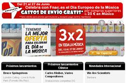ofertas 3x2 en Fnac y su seccion de discos y merchandising