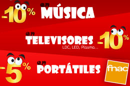 Llega a Fnac el 'Fin de semana Loco' con descuentos del 10% en música, el 10% en televisores y el 5% en portátiles, válido hasta 1-Noviembre-2009