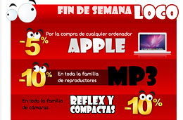 Nuevo 'Fin de semana Loco' en Fnac con descuentos del 10% en reproductores MP3, el 10% en fotografía y el 5% en Apple, válido hasta 8-Noviembre-2009