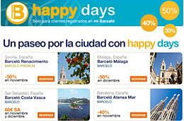 Ofertas de hoteles con descuentos de hasta el 50% gracias a los Happy Days de Barcelo Hoteles