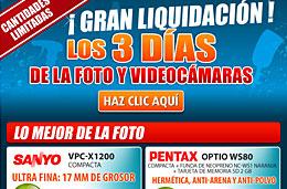 Ofertas y descuentos especiales en la Gran liquidación de los 3 días de la fotografía y videocámaras en Pixmania, válido hasta 31-Octubre-2009