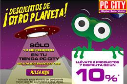 Ofertas especiales durante el día de hoy en los 'Descuentos de otro planeta' de PC City con un 10% de descuento al comprar dos productos, válido hasta 13-Febrero-2010