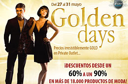 Rebajas especiales en Private Outlet durante sus 'Golden Days' con descuentos de hasta el 90% en más de 18.000 productos de moda, válido hasta 31-Mayo-2010