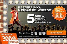 Simyo lanza la tarifa más baja del mercado con 5 céntimos/minuto, 300Mb de navegación gratis y con 10€ en llamadas por darte de alta pagando sólo 1€