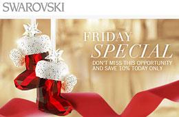 Ofertas Swarovski con artículos rebajados un 10% adicional sólo durante 24h, válido hasta 5-Diciembre-2009