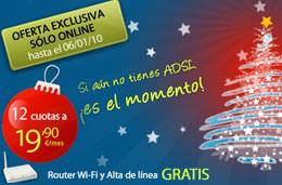 Oferta especial en el Dúo ADSL de Telefónica durante estos días y hasta Reyes por 19,90€ al mes durante el primer año, válido hasta 6-Enero-2010