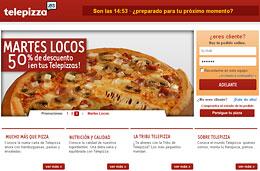 50% de descuento en Telepizza.es con la promoción 'Martes locos' cada semana, válido hasta 31-Diciembre-2009