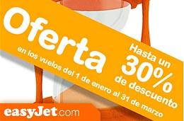 Ofertas de vuelos en EasyJet con un 30% de descuento para volar de Enero a Marzo de 2010 incluídos, válido para reservas hasta 10-Noviembre-2009