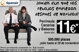 Vuelos baratos a Baleares, Canarias, España y Europa con Spanair desde 11€