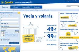 Ofertas de vuelos en Condor durante dos días con precios desde 49€ para volar a Alemania, válido hasta 28-Noviembre-2009