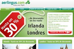 Ofertas de vuelos a Londres e Irlanda con un 30% de descuento, válido para reservas hasta 18-Diciembre-2009