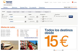 Ofertas de vuelos en Spanair para todos sus destinos con precios desde 15€ para volar hasta 30-Junio-2010 y reservando hasta 14-Marzo-2010