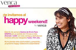 Gastos de envío gratis en Venca en su Happy Weekend de este fin de semana para 3 o más prendas, válido hasta 10-Enero-2010