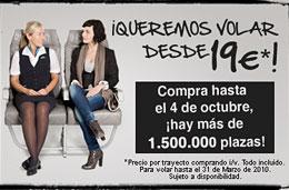 Ofertas de vuelos en Spanair con 1.500.000 billetes desde 19€ por trayecto para vuelos ida/vuelta y para volar hasta 31-Marzo-2010, válido hasta 4-Octubre-2009