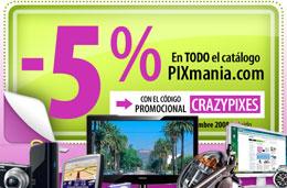 Codigo promocional Pixmania de un 5% de descuento en todos los productos, válido hasta 2-Noviembre-2008