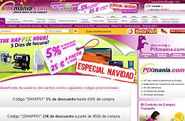 Codigos promocionales Pixmania de 5% ó 25€ de descuento durante 5 días en las HapPix Hour