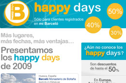 Hoteles Barceló - Ya están aquí los primeros Happy Days de 2009 con descuentos de hasta el 50% en sus hoteles