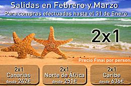 Viajes 2x1 en oferta para viajar a Canarias, Túnez, Egipto, Brasil, México, Caribe y Riviera Maya, válido hasta 31-Enero-2009