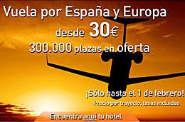 Viajar.com - Oferta de 300.000 plazas para vuelos en España y Europa desde 30€ (tasas incluídas)