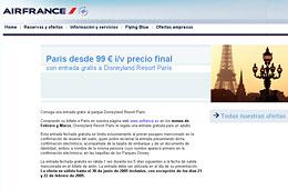 Air France - Vuelos a Paris (ida/vuelta) y entrada gratis a Disneyland Resort Paris desde 99€, válido hasta 31-Marzo-2009