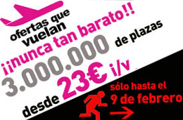 LastMinute - Ofertas de vuelos con 3.000.000 de plazas desde 23€ (ida y vuelta) para volar hasta 30-Junio, válido hasta 9-Febrero-2009