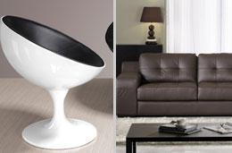 Venta-Única - Ventas Flash: Sillón Groovy con 70% de descuento (230€) y conjunto de sofás de piel 3+2 Biarritz con un 45% de descuento (-800€)
