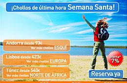 Ultima hora Semana Santa y Chollos de última hora para viajar esta Semana Santa con un 7% de descuento adicional en Viajar.com