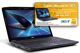Cupon descuento Fnac de 50€ en el ordenador portátil Acer Aspire 5730Z-344