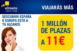 Nuevas ofertas de vuelos con 1 millón de plazas ahora desde 11€ para viajar hasta 30-Junio-2009 con eDreams, válido hasta 2-Abril-2009