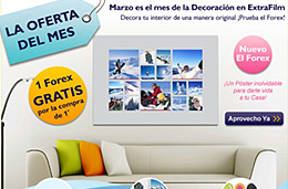 ExtraFilm - Código promocional 2x1 en impresión sobre posters Forex