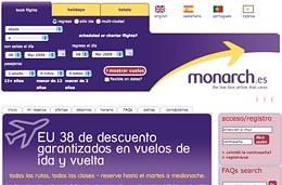 Monarch - Descuento de 38€ garantizados en todos los vuelos de ida y vuelta para todas las rutas, fechas y clases incluyendo Semana Santa, válido hasta 10-Marzo-2009