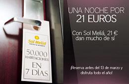 Sol Meliá - 50.000 habitaciones de hotel con precios especiales desde los 21€, válido hasta 13-Marzo-2009