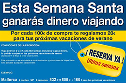 Ofertas de viajes en Semana Santa con Viajes Iberia: regalo de 20€ por cada 100€ de compra para nuestras próximas vacaciones, válido hasta 22-Marzo-2009