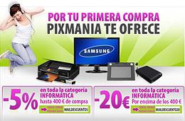 Codigo promocional Pixmania 5% para compras hasta 400€ y Codigo descuento Pixmania 20€ para compras superiores a los 400€