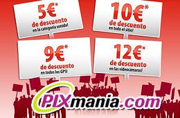 4 Códigos promocionales Pixmania por tiempo limitado de 5€ en sonido, 9€ en todos los GPS, 10€ en toda la web y 12€ videocámaras