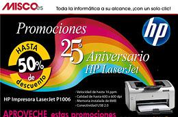 Ofertas en Impresoras láser HP con descuentos de hasta el 50% con motivo de su 25º aniversario en Misco
