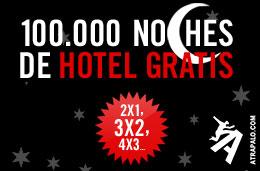 Ofertas de hoteles 2x1, 3x2, 4x3, ... en las 100.000 noches de hotel gratis de Atrapalo