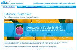 Ofertas de vuelos por tiempo limitado en los días 'SuperSale' de KLM, válido hasta 7-Abril-2009
